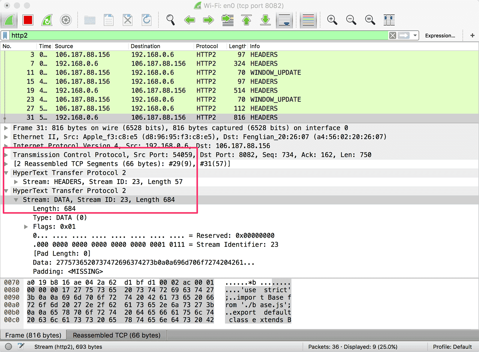 wireshark-h2c